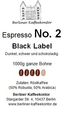 No.2 Black Label - Espresso 1000g bean