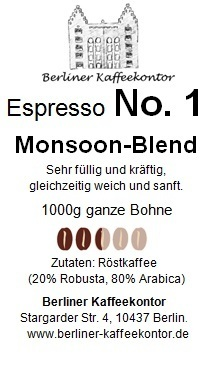 No.1 Monsoon Blend - Espresso 1000g bean