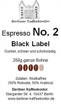 No.2 Black Label - Espresso 250g bean