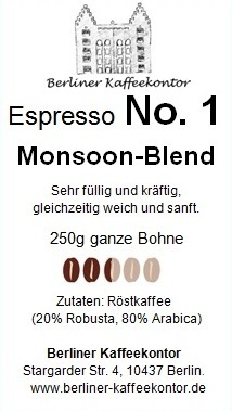 No.1 Monsoon Blend - Espresso 250g bean