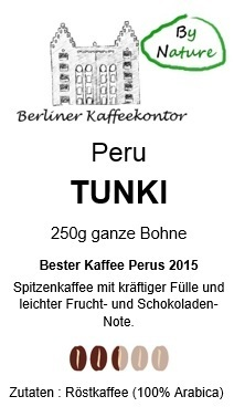 by nature Peru Tunki Single Origin Kaffee 250g Bohne