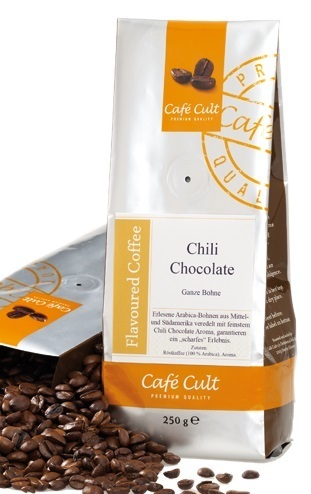 flavoured coffee - chili choclate beans
