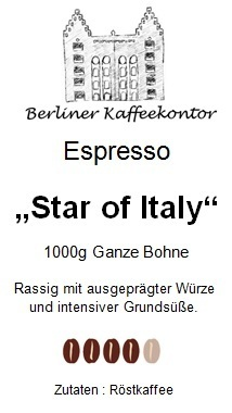 Espresso Star of Italy 1000g ganze Bohne