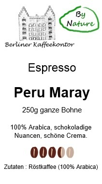 Espresso Peru Maray 100% Arabica by nature 250g Bohne